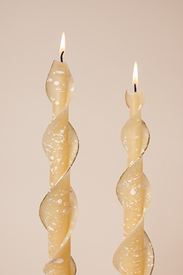 Frosted Ivory Candles-twised Beeswax Candles
