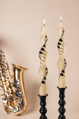 jazzy piano keys spiral-twised Beeswax Candles