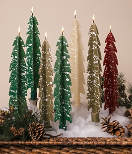 Flocked Pine Trees-twised Beeswax Candles